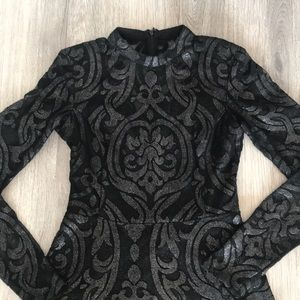 Guess size 2 black lace long sleeve dress